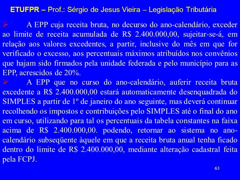 63 ETUFPR – Prof.: Sérgio de Jesus Vieira – Legislação Tributária A EPP cuja receita bruta, no decurso do ano-calendário, exceder ao limite de receita