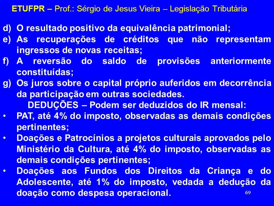 69 ETUFPR – Prof.: Sérgio de Jesus Vieira – Legislação Tributária d)O resultado positivo da equivalência patrimonial; e)As recuperações de créditos qu