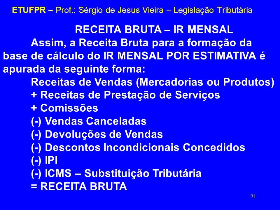 71 ETUFPR – Prof.: Sérgio de Jesus Vieira – Legislação Tributária RECEITA BRUTA – IR MENSAL Assim, a Receita Bruta para a formação da base de cálculo