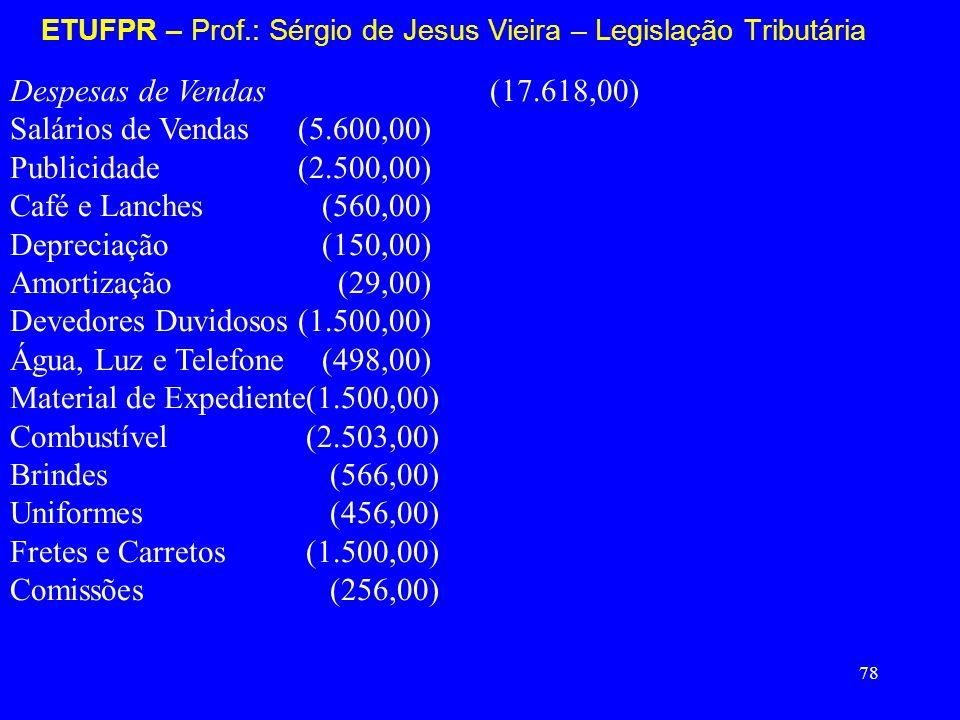78 ETUFPR – Prof.: Sérgio de Jesus Vieira – Legislação Tributária Despesas de Vendas (17.618,00) Salários de Vendas(5.600,00) Publicidade (2.500,00) C