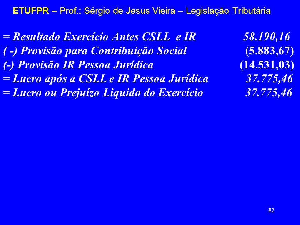 82 ETUFPR – Prof.: Sérgio de Jesus Vieira – Legislação Tributária = Resultado Exercício Antes CSLL e IR 58.190,16 ( -) Provisão para Contribuição Soci