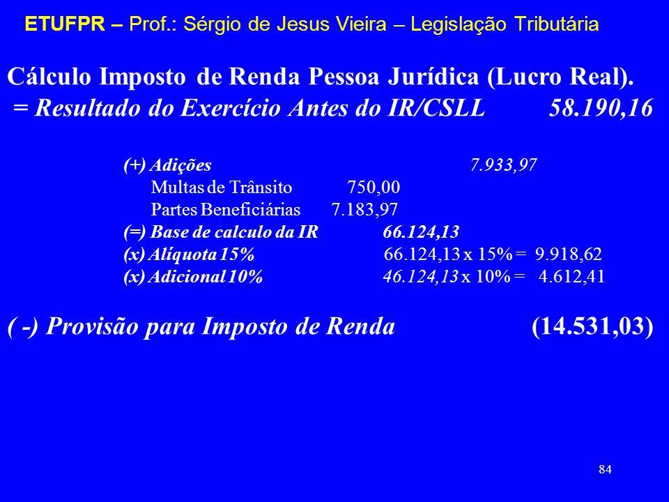 84 ETUFPR – Prof.: Sérgio de Jesus Vieira – Legislação Tributária Cálculo Imposto de Renda Pessoa Jurídica (Lucro Real). = Resultado do Exercício Ante