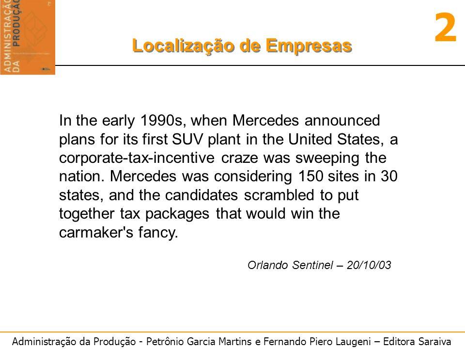 Administração da Produção - Petrônio Garcia Martins e Fernando Piero Laugeni – Editora Saraiva 2 Localização de Empresas In the early 1990s, when Merc