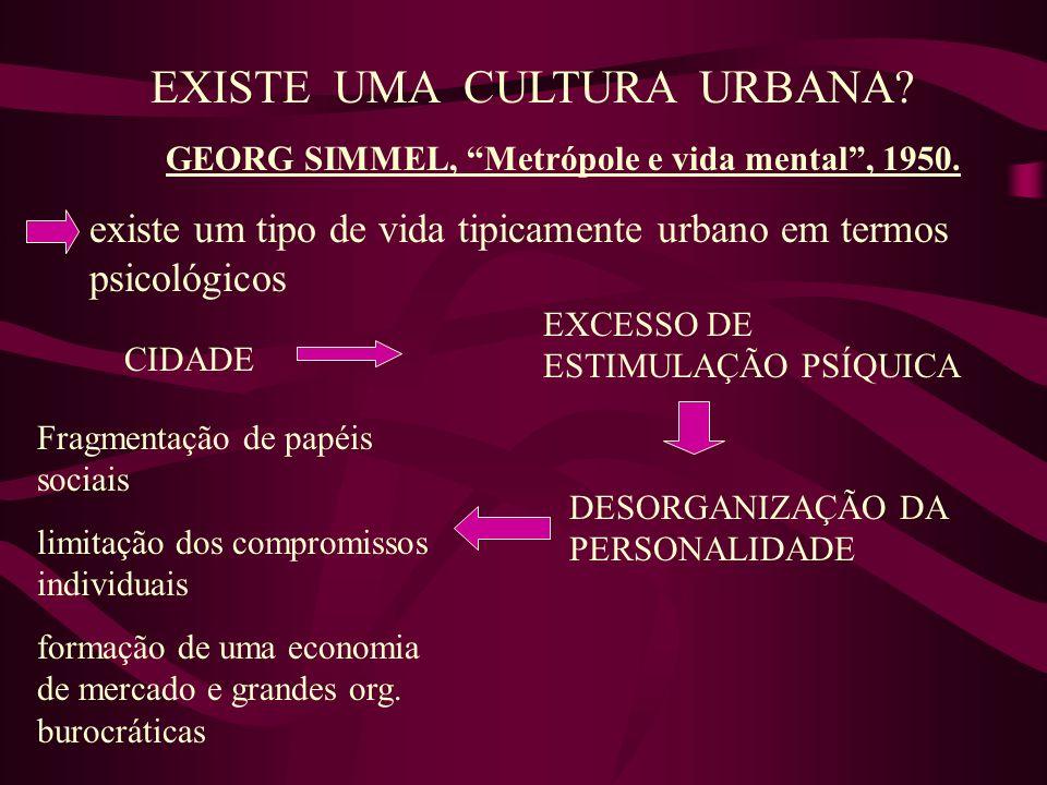 EXISTE UMA CULTURA URBANA? GEORG SIMMEL, Metrópole e vida mental, 1950. existe um tipo de vida tipicamente urbano em termos psicológicos CIDADE EXCESS