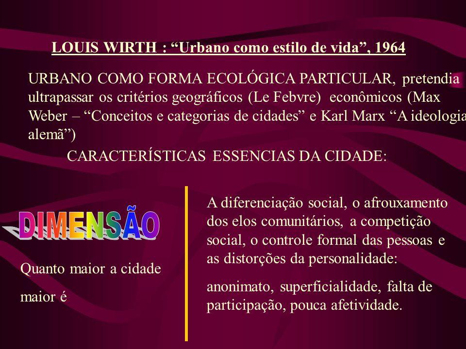 LOUIS WIRTH : Urbano como estilo de vida, 1964 URBANO COMO FORMA ECOLÓGICA PARTICULAR, pretendia ultrapassar os critérios geográficos (Le Febvre) econ