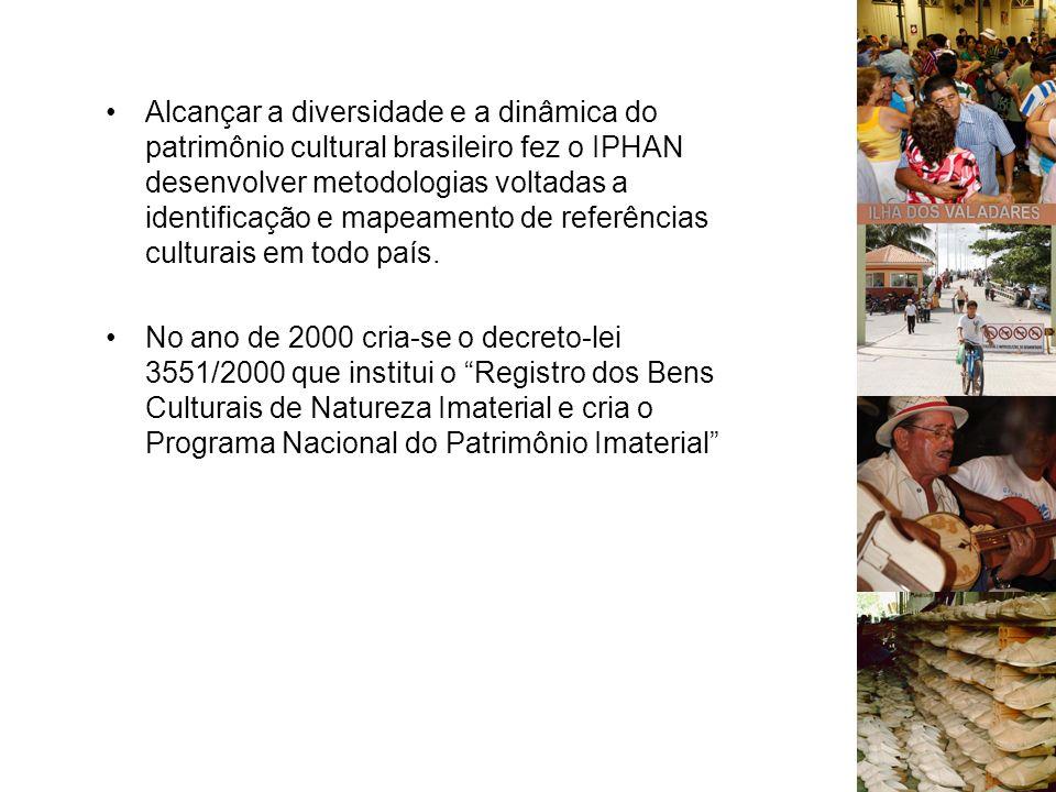 Alcançar a diversidade e a dinâmica do patrimônio cultural brasileiro fez o IPHAN desenvolver metodologias voltadas a identificação e mapeamento de re