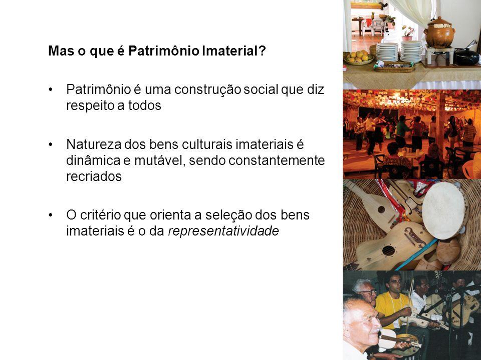 Mas o que é Patrimônio Imaterial? Patrimônio é uma construção social que diz respeito a todos Natureza dos bens culturais imateriais é dinâmica e mutá