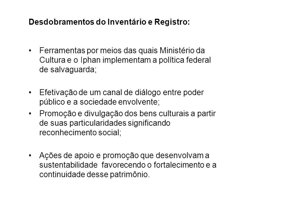 Desdobramentos do Inventário e Registro: Ferramentas por meios das quais Ministério da Cultura e o Iphan implementam a política federal de salvaguarda