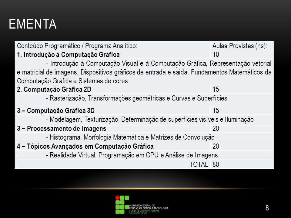 EMENTA 8 Conteúdo Programático / Programa Analítico:Aulas Previstas (hs): 1. Introdução à Computação Gráfica 10 - Introdução à Computação Visual e à C
