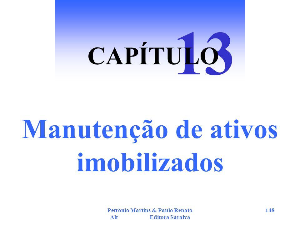 Petrônio Martins & Paulo Renato Alt Editora Saraiva 148 Manutenção de ativos imobilizados 13 CAPÍTULO