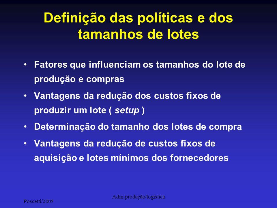 Possetti/2005 Adm.produção/logística Definição das políticas e dos tamanhos de lotes Fatores que influenciam os tamanhos do lote de produção e compras