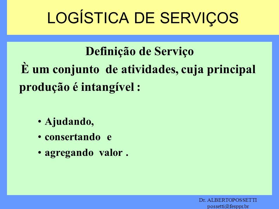 Dr. ALBERTOPOSSETTI possetti@fesppr.br Definição de Serviço È um conjunto de atividades, cuja principal produção é intangível : Ajudando, consertando