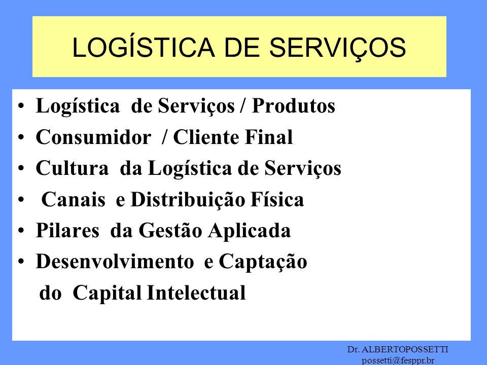 Dr. ALBERTOPOSSETTI possetti@fesppr.br Logística de Serviços / Produtos Consumidor / Cliente Final Cultura da Logística de Serviços Canais e Distribui