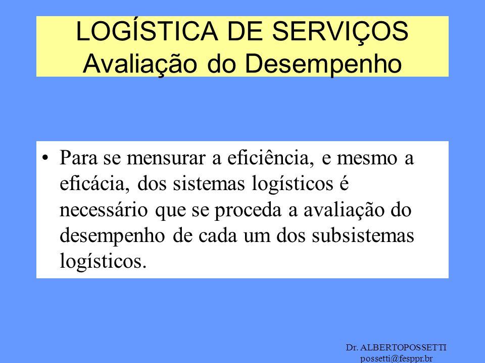 Dr. ALBERTOPOSSETTI possetti@fesppr.br Para se mensurar a eficiência, e mesmo a eficácia, dos sistemas logísticos é necessário que se proceda a avalia
