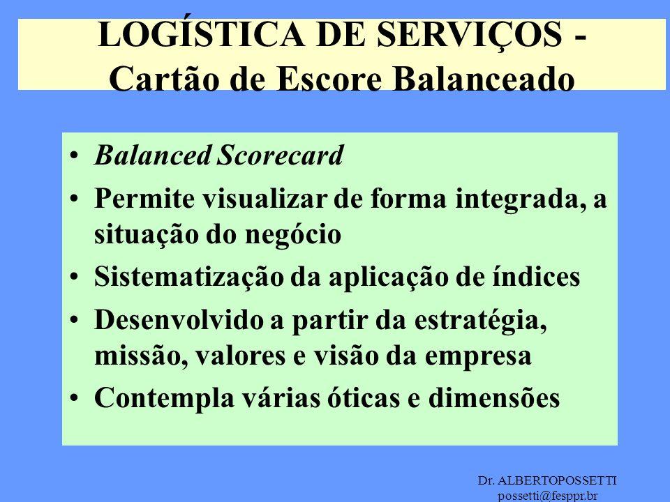 Dr. ALBERTOPOSSETTI possetti@fesppr.br LOGÍSTICA DE SERVIÇOS - Cartão de Escore Balanceado Balanced Scorecard Permite visualizar de forma integrada, a
