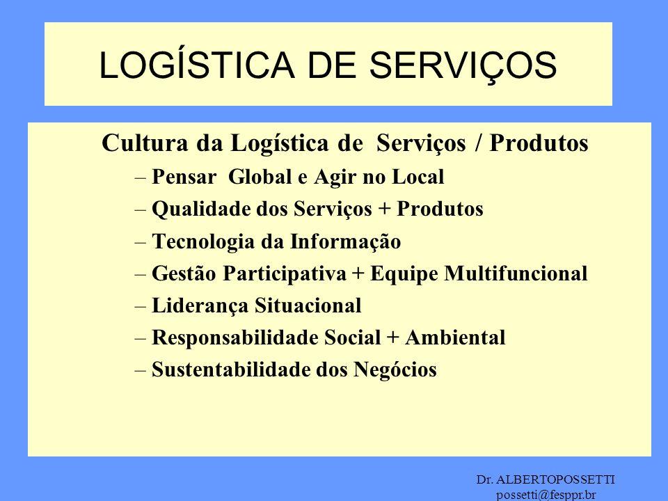 Dr. ALBERTOPOSSETTI possetti@fesppr.br LOGÍSTICA DE SERVIÇOS Cultura da Logística de Serviços / Produtos –Pensar Global e Agir no Local –Qualidade dos