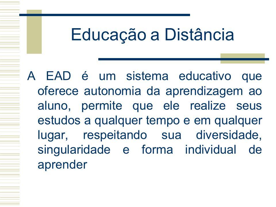 Educação a Distância A EAD é um sistema educativo que oferece autonomia da aprendizagem ao aluno, permite que ele realize seus estudos a qualquer temp
