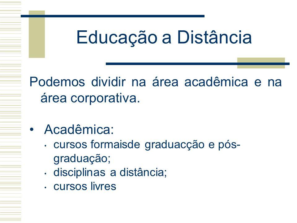 Educação a Distância Podemos dividir na área acadêmica e na área corporativa. Acadêmica: cursos formaisde graduacção e pós- graduação; disciplinas a d