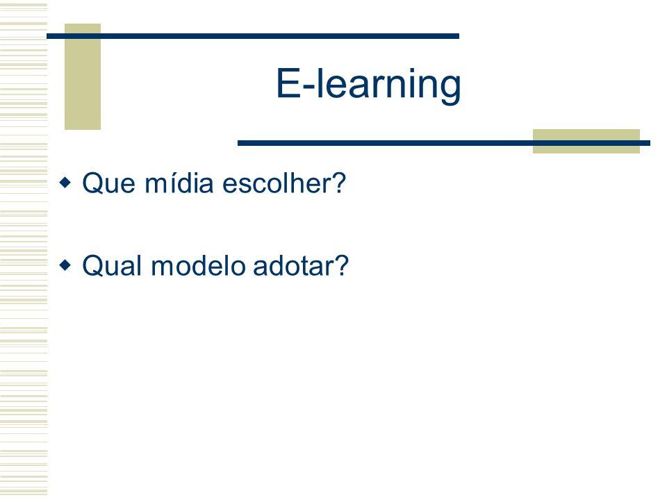 E-learning Que mídia escolher? Qual modelo adotar?