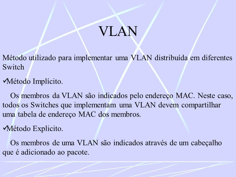 VLAN Método utilizado para implementar uma VLAN distribuída em diferentes Switch Método Implícito. Os membros da VLAN são indicados pelo endereço MAC.