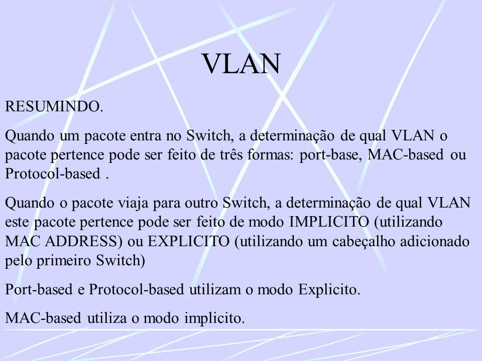 VLAN RESUMINDO. Quando um pacote entra no Switch, a determinação de qual VLAN o pacote pertence pode ser feito de três formas: port-base, MAC-based ou