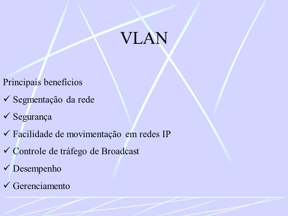 VLAN Principais benefícios Segmentação da rede Segurança Facilidade de movimentação em redes IP Controle de tráfego de Broadcast Desempenho Gerenciame