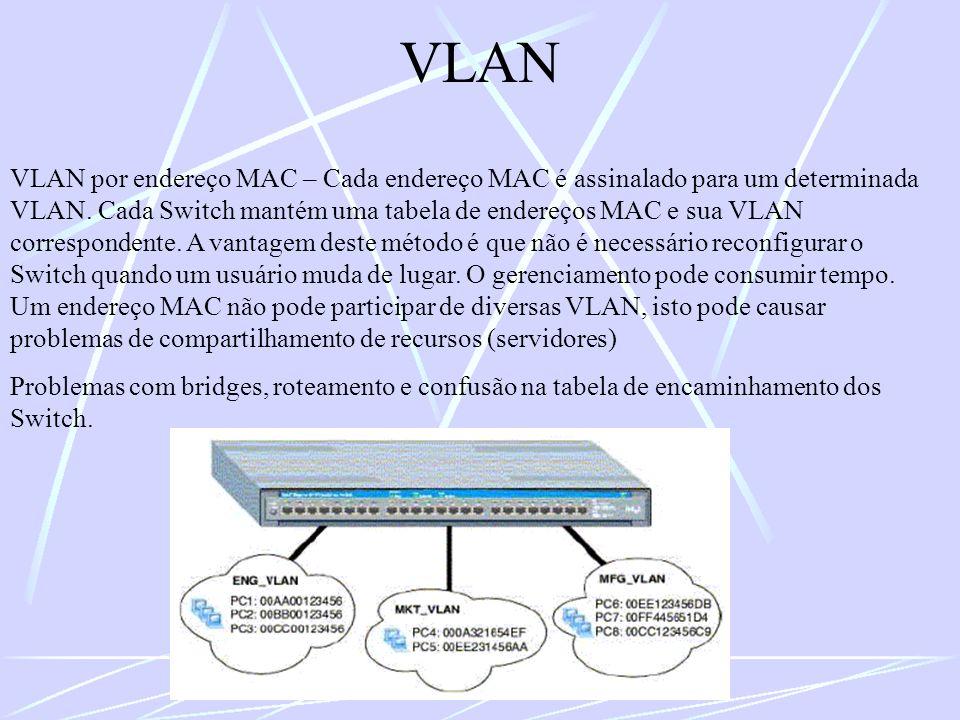 VLAN VLAN por endereço MAC – Cada endereço MAC é assinalado para um determinada VLAN. Cada Switch mantém uma tabela de endereços MAC e sua VLAN corres