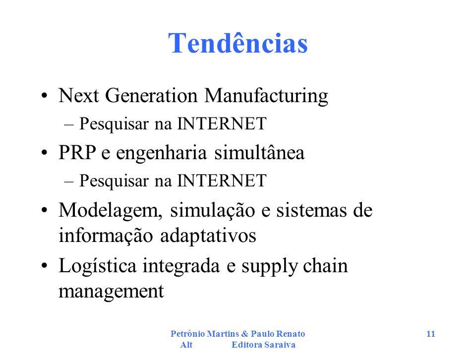 Petrônio Martins & Paulo Renato Alt Editora Saraiva 11 Tendências Next Generation Manufacturing –Pesquisar na INTERNET PRP e engenharia simultânea –Pe