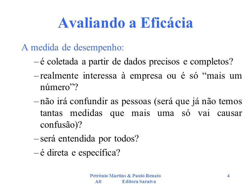 Petrônio Martins & Paulo Renato Alt Editora Saraiva 4 Avaliando a Eficácia A medida de desempenho: –é coletada a partir de dados precisos e completos.