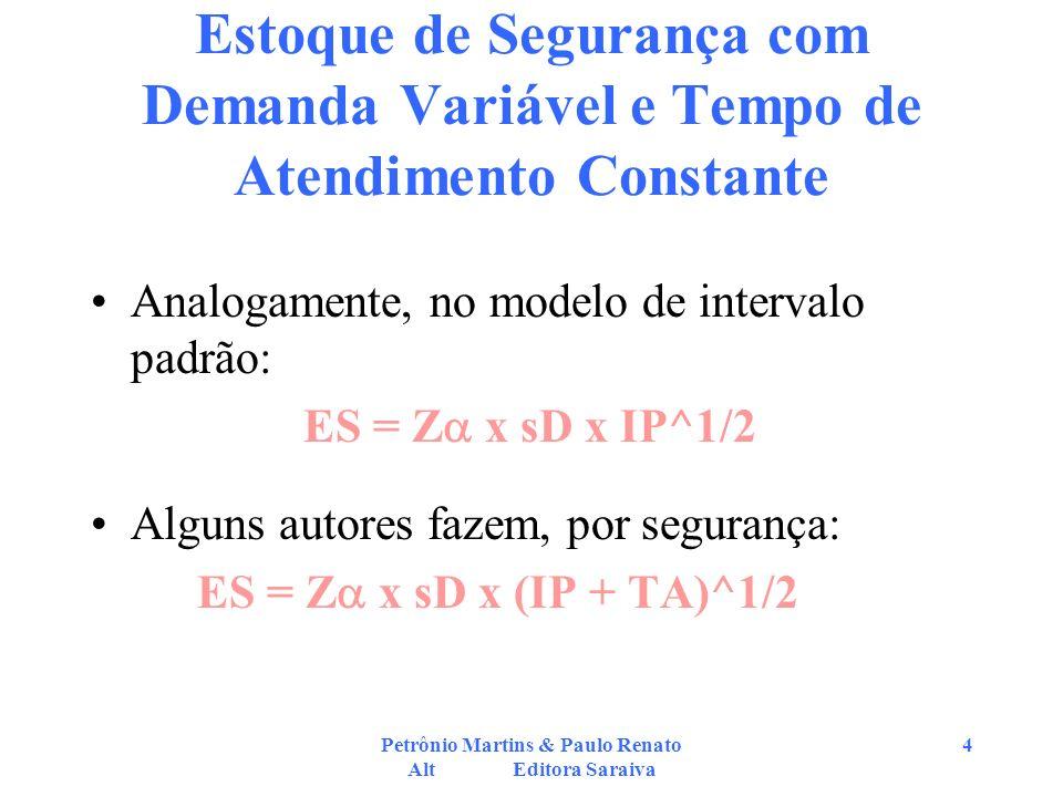 Petrônio Martins & Paulo Renato Alt Editora Saraiva 4 Estoque de Segurança com Demanda Variável e Tempo de Atendimento Constante Analogamente, no mode