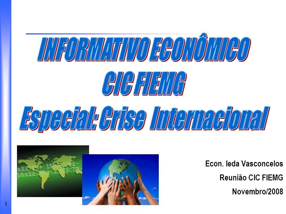 1 Econ. Ieda Vasconcelos Reunião CIC FIEMG Novembro/2008