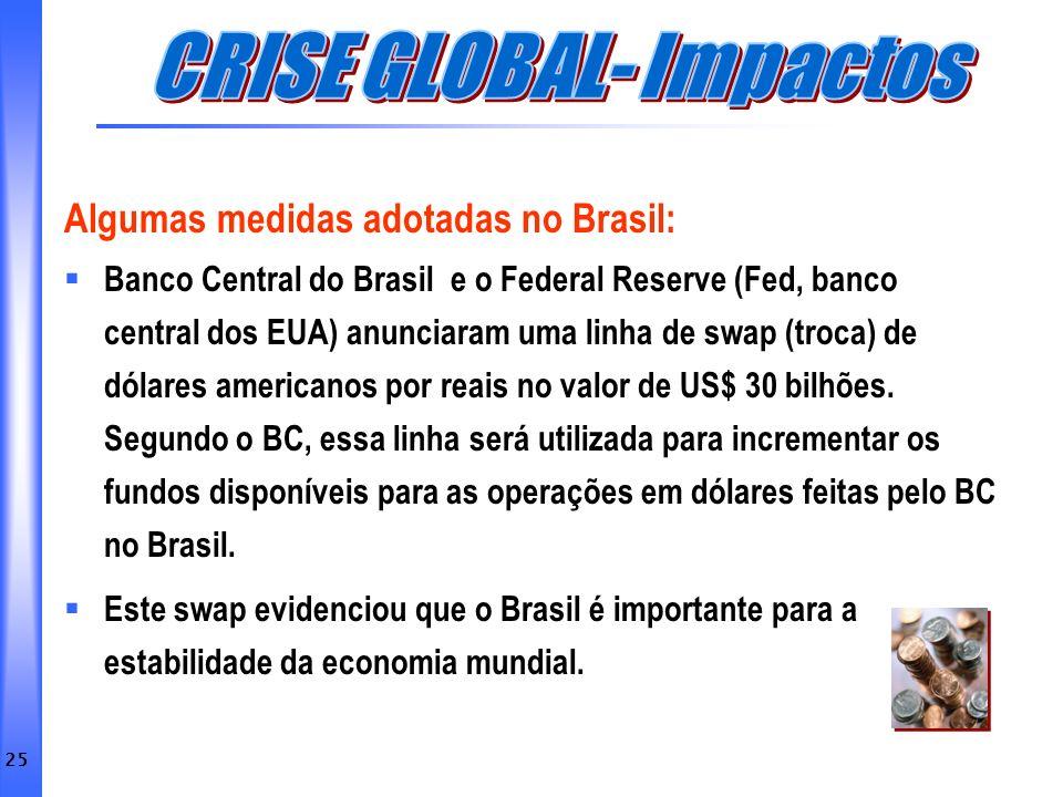 25 Algumas medidas adotadas no Brasil: Banco Central do Brasil e o Federal Reserve (Fed, banco central dos EUA) anunciaram uma linha de swap (troca) d