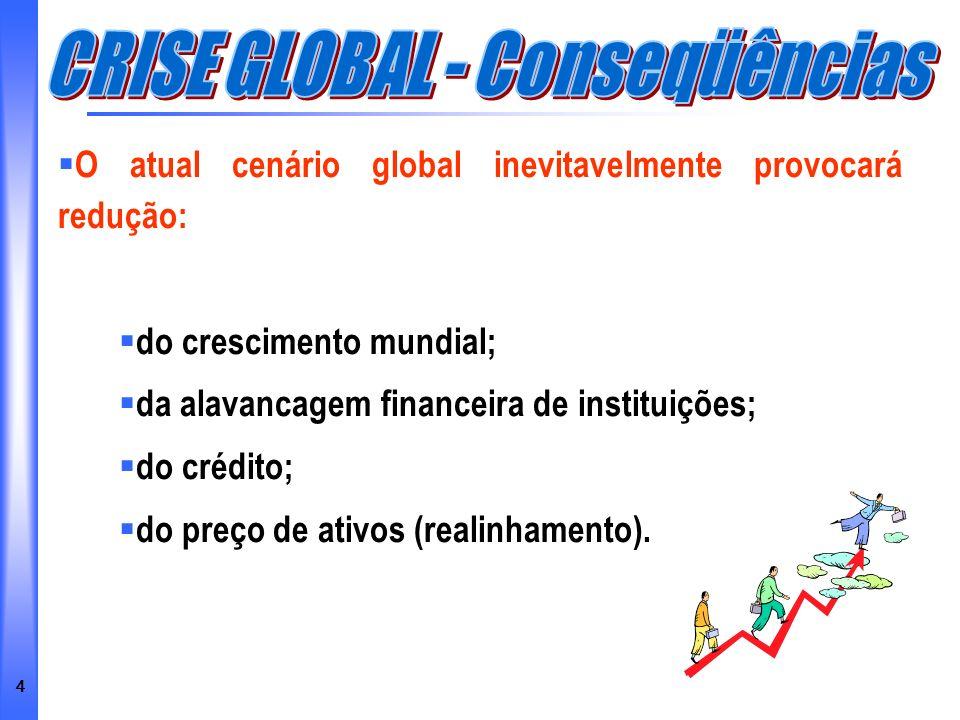 4 O atual cenário global inevitavelmente provocará redução: do crescimento mundial; da alavancagem financeira de instituições; do crédito; do preço de