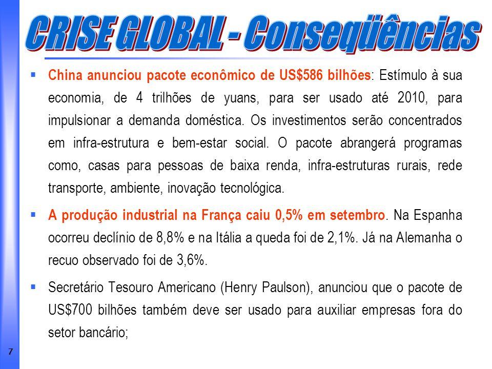 28 Relatório Focus: pesquisa realizada semanalmente pelo Banco Central, com analistas do mercado financeiro, e mostra as perspectivas para a economia nacional (2008 e 2009) através de vários indicadores.