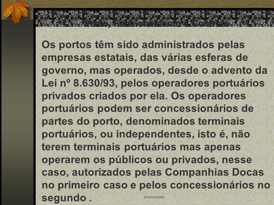 albertopossetti Porto, Funcionamento e Controle Os portos têm sido administrados pelas empresas estatais, das várias esferas de governo, mas operados,