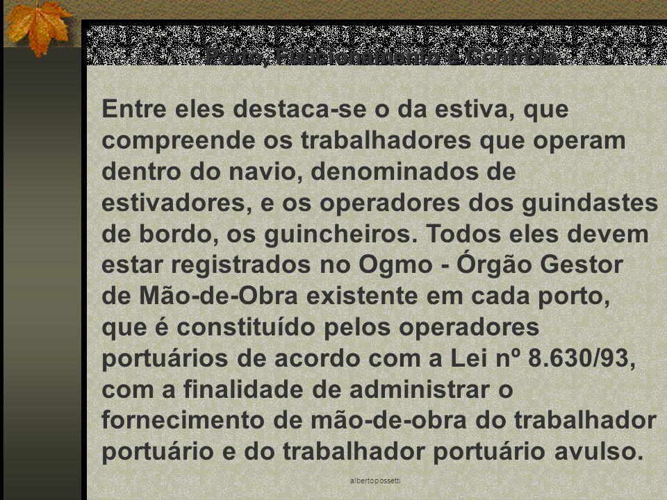 albertopossetti Porto, Funcionamento e Controle Entre eles destaca-se o da estiva, que compreende os trabalhadores que operam dentro do navio, denomin