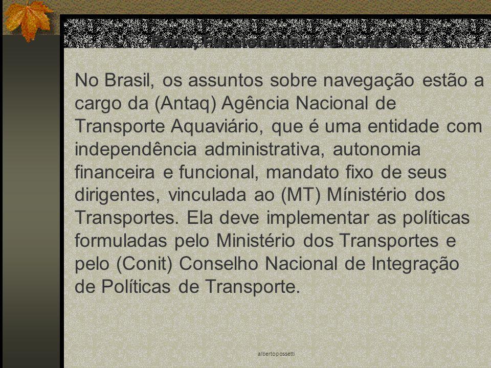albertopossetti Porto, Funcionamento e Controle No Brasil, os assuntos sobre navegação estão a cargo da (Antaq) Agência Nacional de Transporte Aquaviá