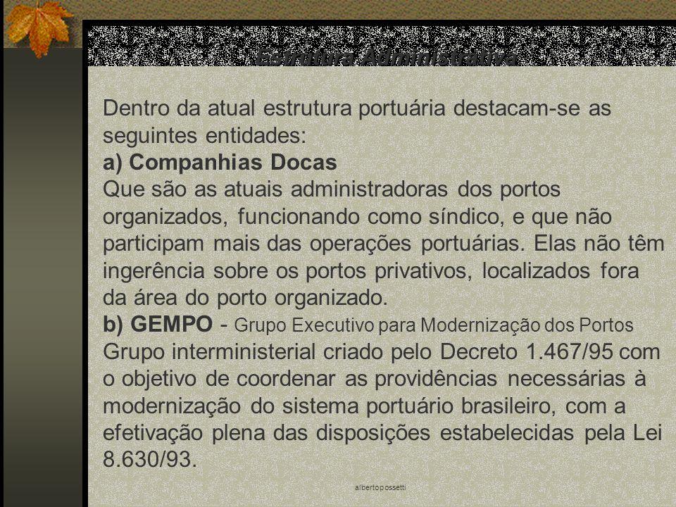 albertopossetti Estrutura Administrativa Dentro da atual estrutura portuária destacam-se as seguintes entidades: a) Companhias Docas Que são as atuais