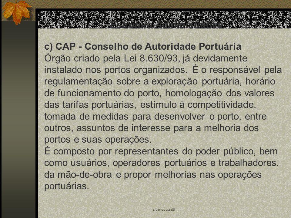 albertopossetti Estrutura Administrativa c) CAP - Conselho de Autoridade Portuária Órgão criado pela Lei 8.630/93, já devidamente instalado nos portos