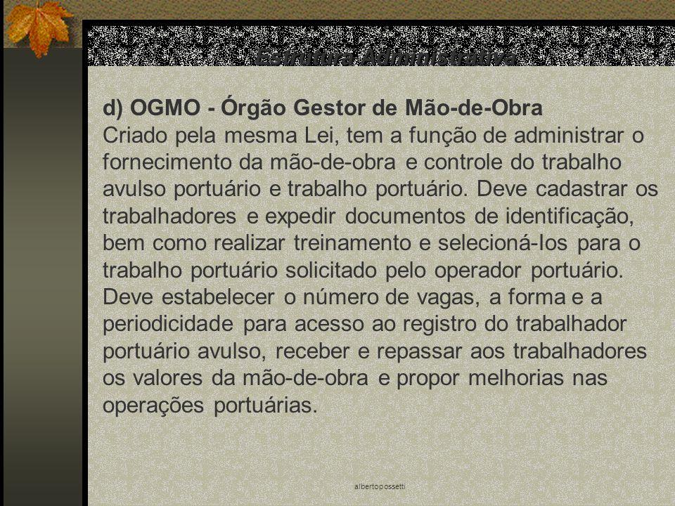 albertopossetti Estrutura Administrativa d) OGMO - Órgão Gestor de Mão-de-Obra Criado pela mesma Lei, tem a função de administrar o fornecimento da mã