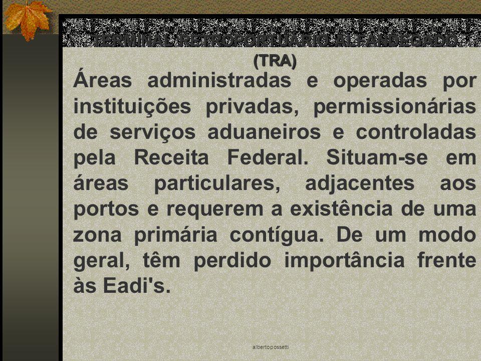 albertopossetti TERMINAL RETROPORTUÁRIO ALFANDEGADO (TRA) Áreas administradas e operadas por instituições privadas, permissionárias de serviços aduane