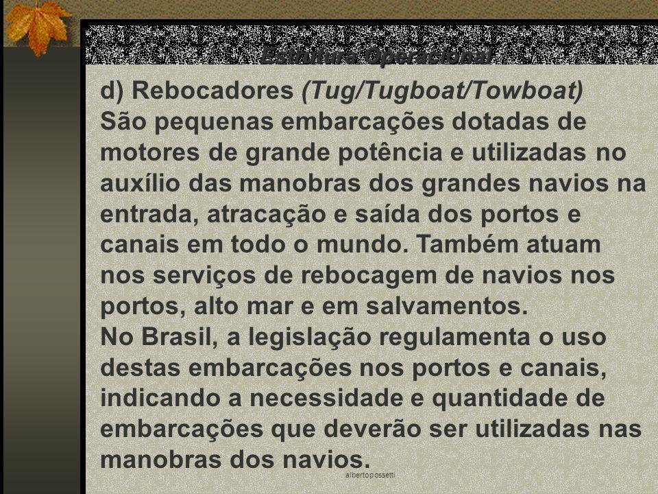 albertopossetti Estrutura Operacional d) Rebocadores (Tug/Tugboat/Towboat) São pequenas embarcações dotadas de motores de grande potência e utilizadas