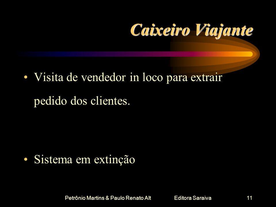 Petrônio Martins & Paulo Renato Alt Editora Saraiva11 Caixeiro Viajante Visita de vendedor in loco para extrair pedido dos clientes. Sistema em extinç