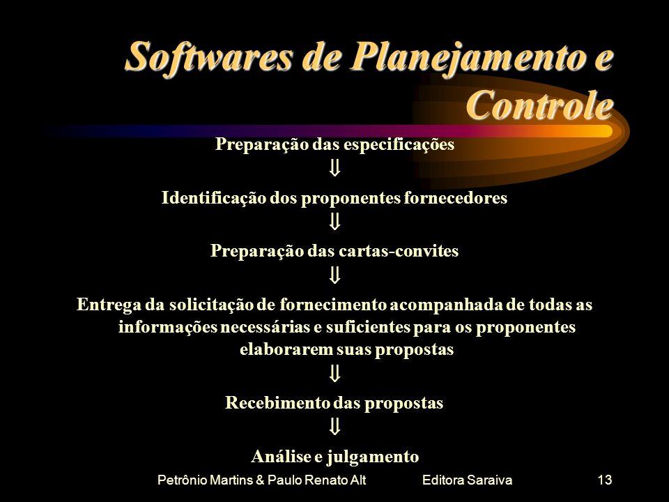 Petrônio Martins & Paulo Renato Alt Editora Saraiva13 Softwares de Planejamento e Controle Preparação das especificações Identificação dos proponentes