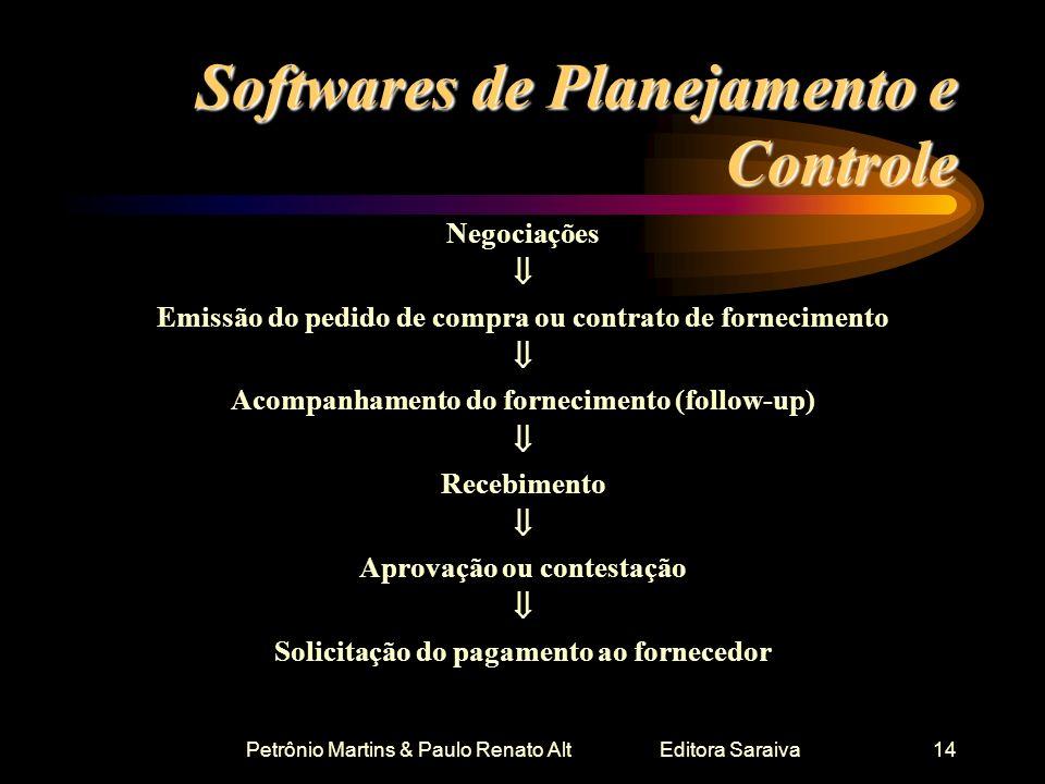 Petrônio Martins & Paulo Renato Alt Editora Saraiva14 Softwares de Planejamento e Controle Negociações Emissão do pedido de compra ou contrato de forn