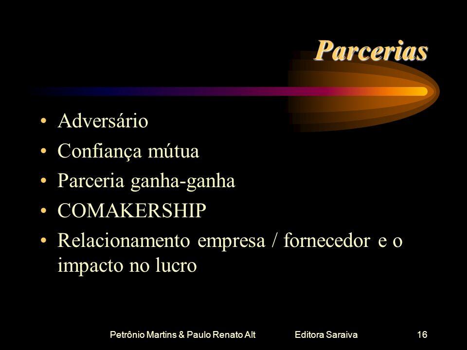 Petrônio Martins & Paulo Renato Alt Editora Saraiva16 Parcerias Adversário Confiança mútua Parceria ganha-ganha COMAKERSHIP Relacionamento empresa / f
