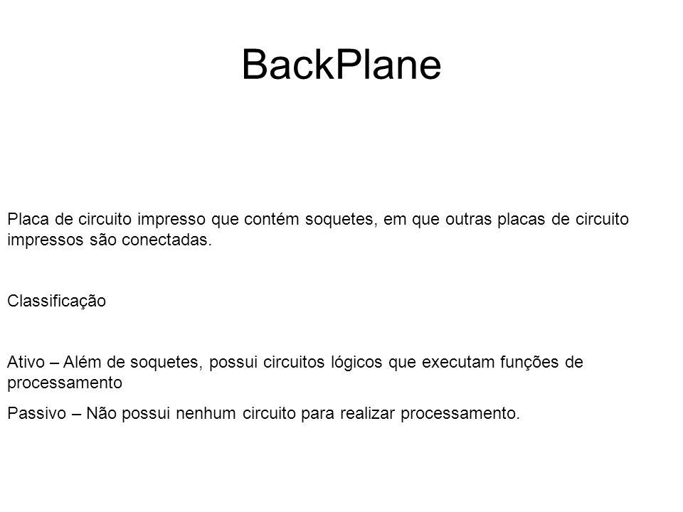 BackPlane Placa de circuito impresso que contém soquetes, em que outras placas de circuito impressos são conectadas. Classificação Ativo – Além de soq