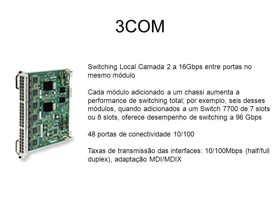3COM Switching Local Camada 2 a 16Gbps entre portas no mesmo módulo Cada módulo adicionado a um chassi aumenta a performance de switching total; por e