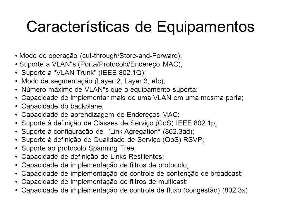 Características de Equipamentos Modo de operação (cut-through/Store-and-Forward); Suporte a VLAN