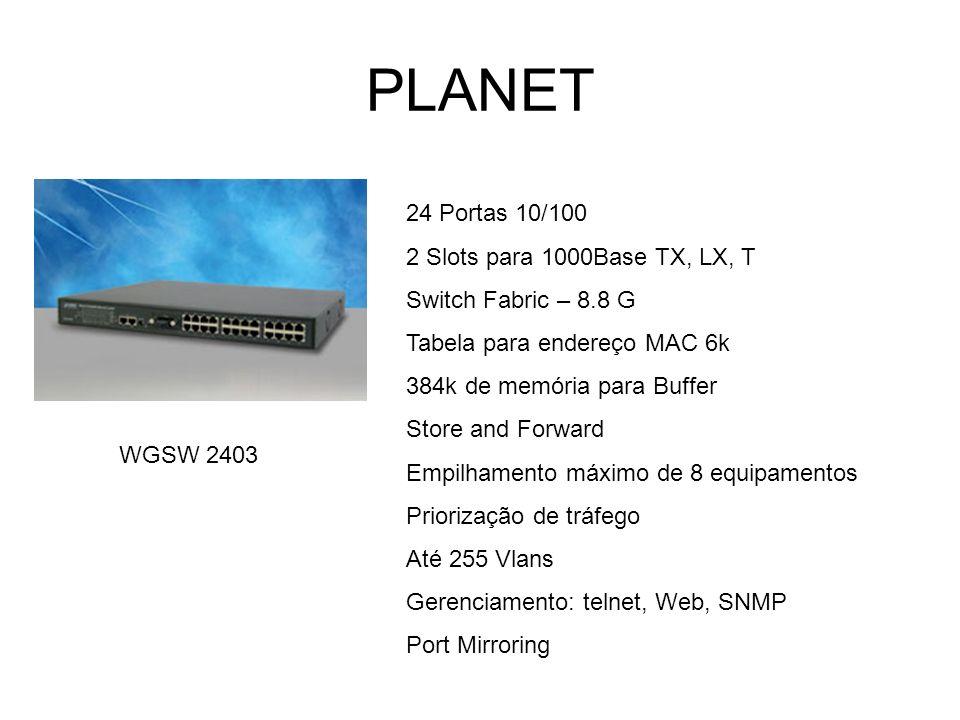PLANET WGSW 2403 24 Portas 10/100 2 Slots para 1000Base TX, LX, T Switch Fabric – 8.8 G Tabela para endereço MAC 6k 384k de memória para Buffer Store